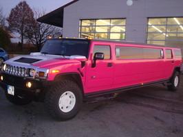 Hummerlimo in pink mit Reißverschluß.